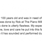 2019 Steinway Restoration 5 Star Google review